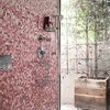 modern shower idea with colorful mosaic tile wall and linear drain