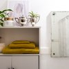 bathroom storage cabinet with plants, decorations and towels