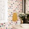 terrazzo wallpaper in bathroom