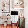 Rustic office with black and white wallpaper and vintage finds