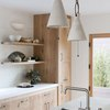 Farmhouse kitchen lighting with modern ceramic pendants