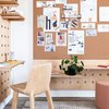 home office layout with plywood pegboard