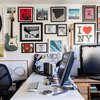 Home office wall decor framed portraits