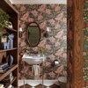 small bathroom wallpaper with romantic oversize floral print
