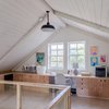 Scandinavian home office in attic with plywood furniture