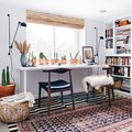 Layered Rugs Add Personality to an Eclectic Home Office