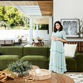 You Have to See Jenna Dewan's Gorgeous Green Velvet Sofa