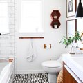 Patterned Tile and Natural Wood Make a Perfect Bathroom Pair