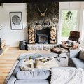 This Cozy Airbnb Features Floyd Furniture and a Natural Stone Fireplace