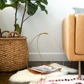 DIY Magazine Rack Using Large Hoops and Leather