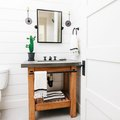 A Few Simple Touches Are All You Need for a Farmhouse-Meets-Industrial Bathroom