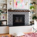 Graphic Tile Just Might Be What Your Fireplace Is Missing