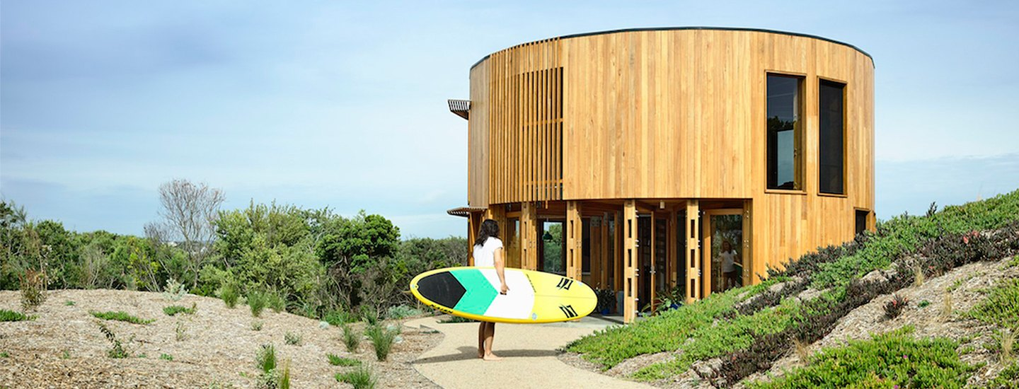 home tour of cylindrical beach dwelling