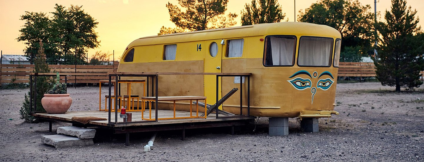 Marfa hotel tour with yurts and RVs