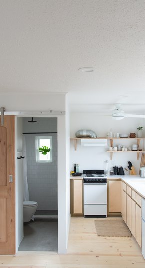 Love of Scandinavian design and simplicity in a Portland guest studio.