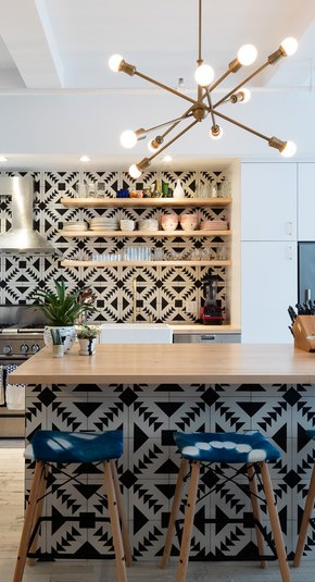 tiled kitchen island
