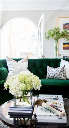 small living room with green couch