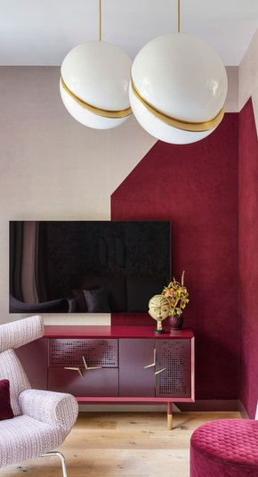 red and pink Living Room