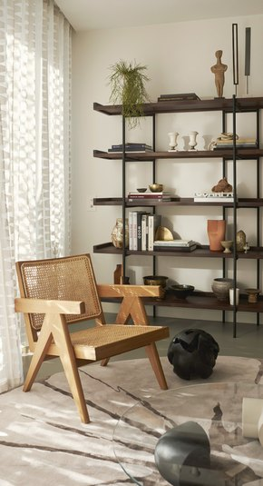 cane chair in living room