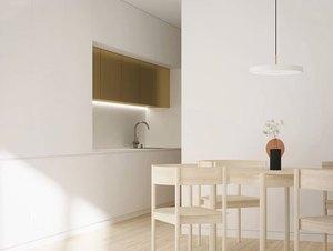 eco-friendly kitchen flooring in minimalist Scandinavian kitchen