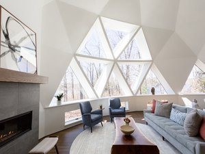 Living Room in geodesic dome house