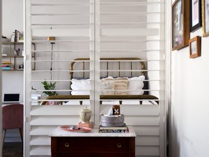 plantation shutters in studio apartment