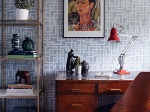Interlocked squares midcentury modern wallpaper in office