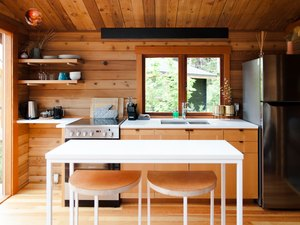 wood walls and flooring in a simple cabin kitchen