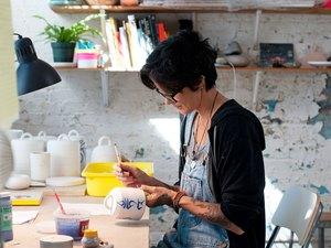 Michele Quan working in her studio