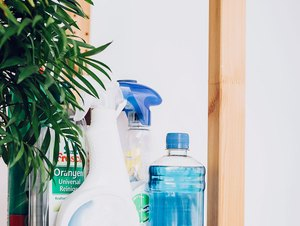 Shelf with cleaning tools