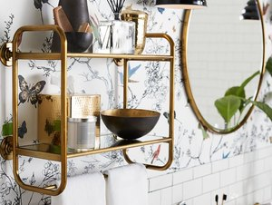 floating two-tiered bathroom shelf