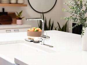 low-arc faucet on a kitchen island
