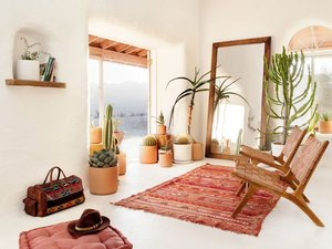 desert retreat with straw-bale walls cement flooring and potted cacti