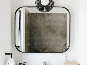 square drop-in bathroom sink, concrete countertop