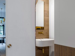 Bathroom under stairs with rounded door and wood paneling