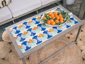 DIY tiled coffee table in outdoor patio