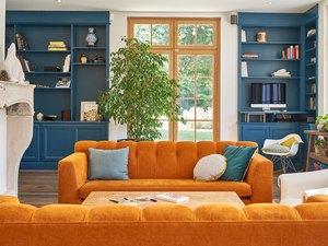 orange and blue living room