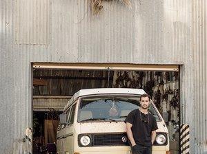Florist Spencer Falls with his VW van