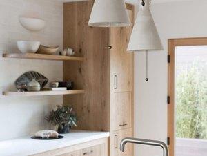 Farmhouse kitchen lighting with modern ceramic pendants