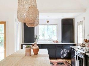woven pendants over island bohemian kitchen lighting