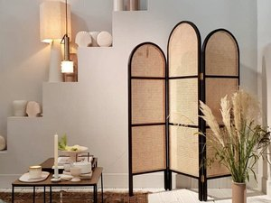 room divider idea for the living room with curved cane folding screen with black trim