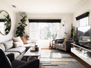 contemporary family room ideas with gray sofa