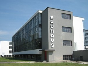 Bauhaus architecture at a school in Germany with Bauhaus written on side