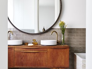 bathroom cabinet idea with vintage wood cabinet and vessel sinks