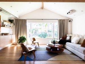 Living room with casement windows