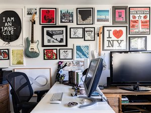 Home office wall decor framed portraits
