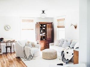 farmhouse living room lighting idea with white glass semi-flush mount