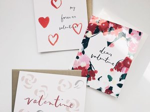 valentine's day cards on white background