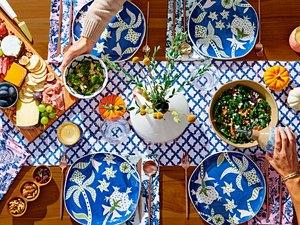 vibrant dinner table set up
