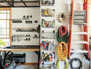 DIY garage organization idea with elements hanging from the walls